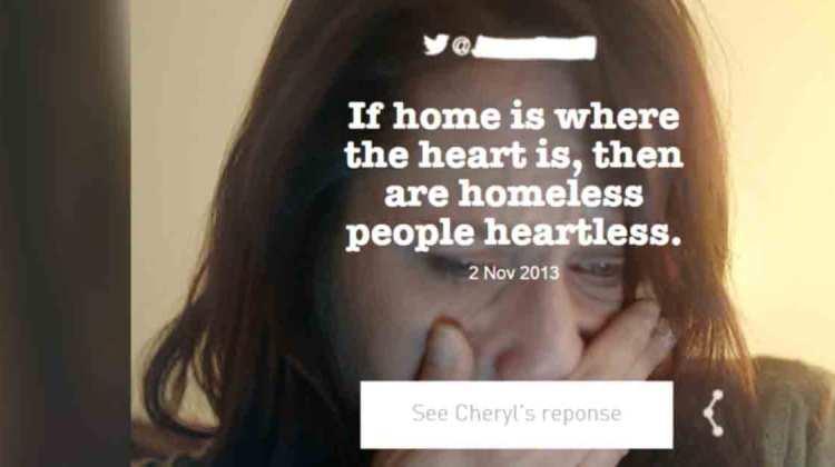 Obdachlose lesen gemeine Tweets heartless