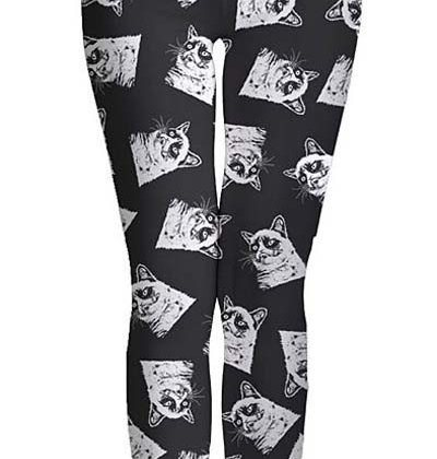 grumpy cat print-leggings
