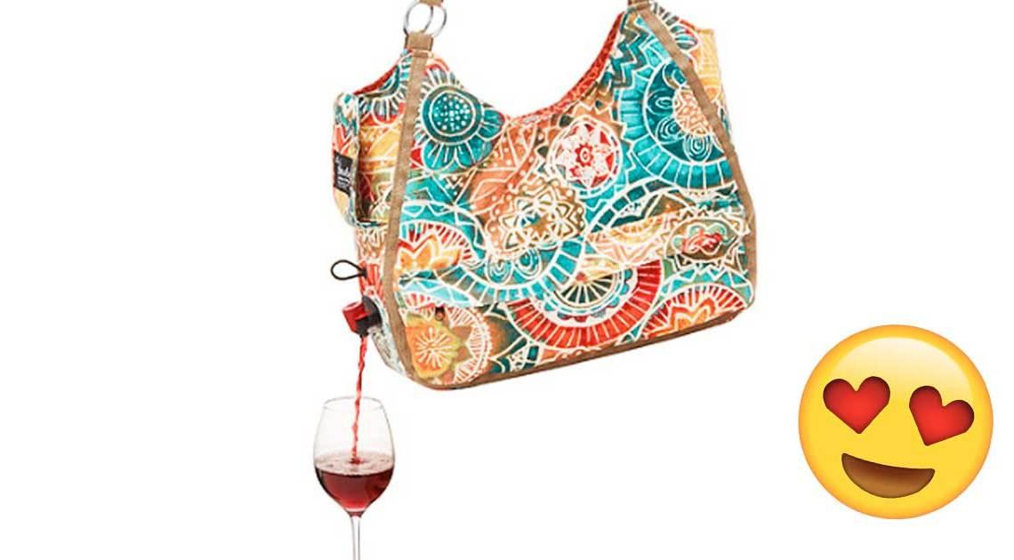 tasche mit weinspender wine dispenser tote bag