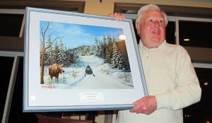 Stan Kopala accepts the Snowmobile Association of Massachusetts President's Award