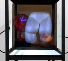 Antoine Catala, Fantasstic, 2012, aluminum, wood, mirror, rock, latex, hair, sculpee, fan, lights, TV, USB memory stick 154.9 x 81.2 x 52 cm Courtesy the artist
