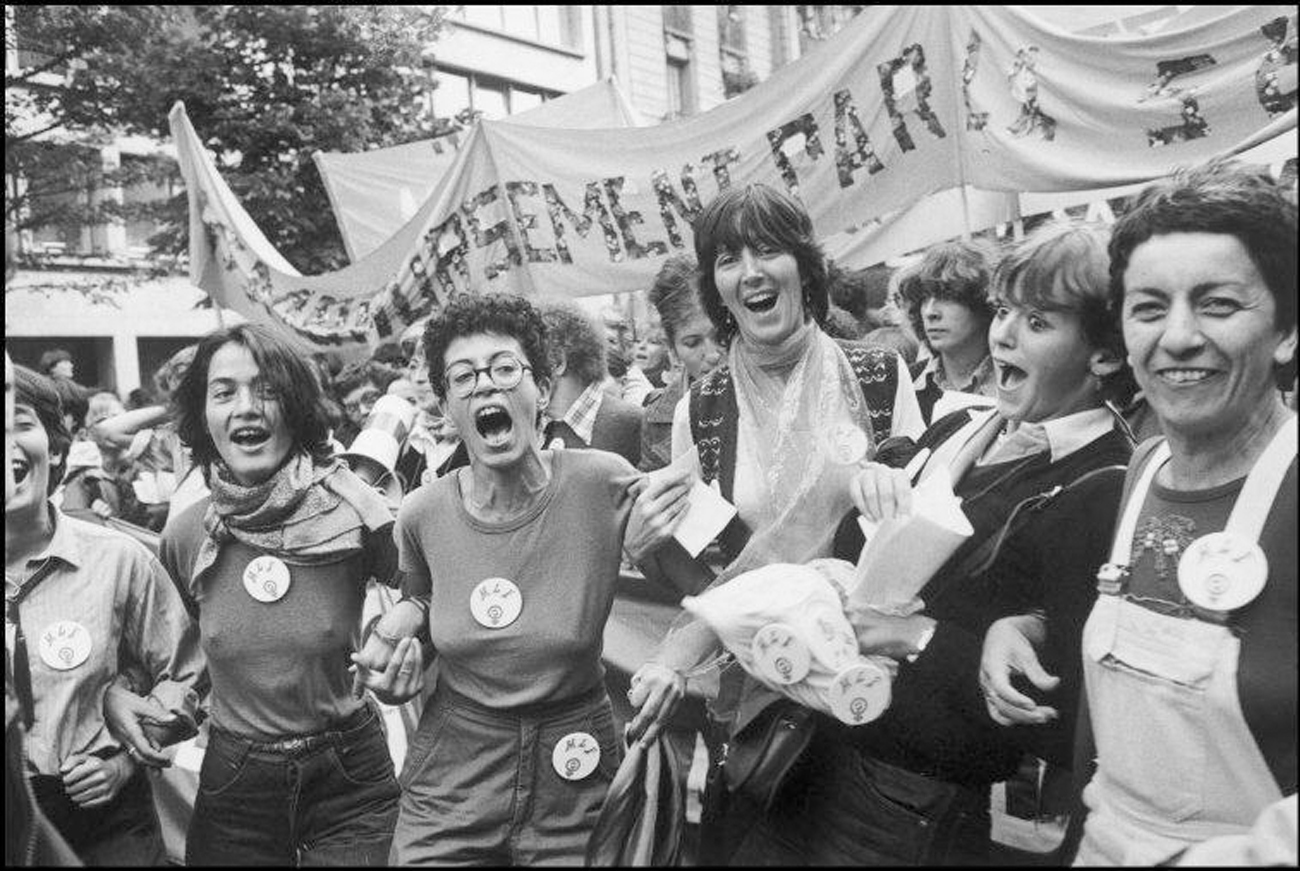 Guy Le Querrec. Paris. Women's march organised by MLF (feminist movement) for the abortion right. 1979. Image from magnumphotos.com