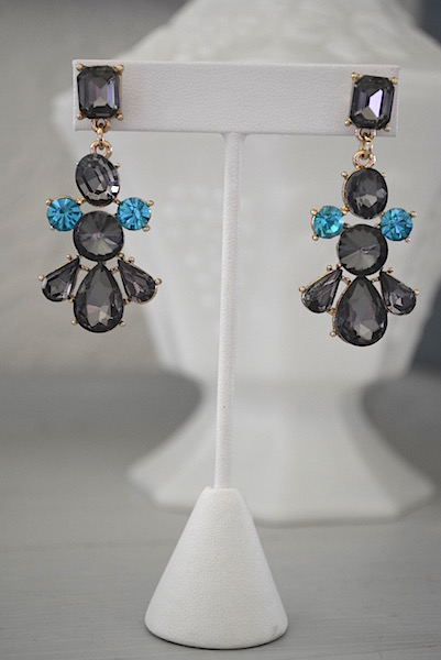 Pewter Rhinestone Earrings, Pewter and Turquoise Jewelry