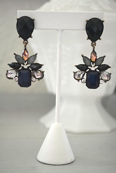 olive earrings, navy, olive, & rhinestone earrings