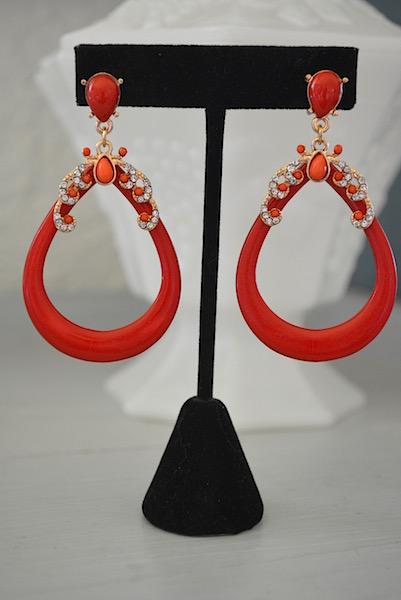 red teardrop earrings, plastic earrings, vintage style earrings