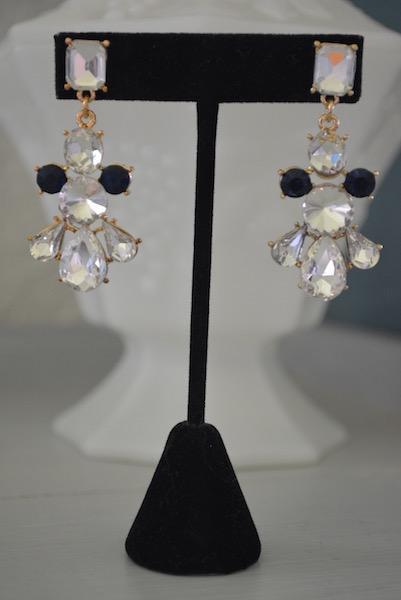Nautical Rhinestone Earrings, Sapphire and Rhinestone Earrings, Navy and White Jewelry