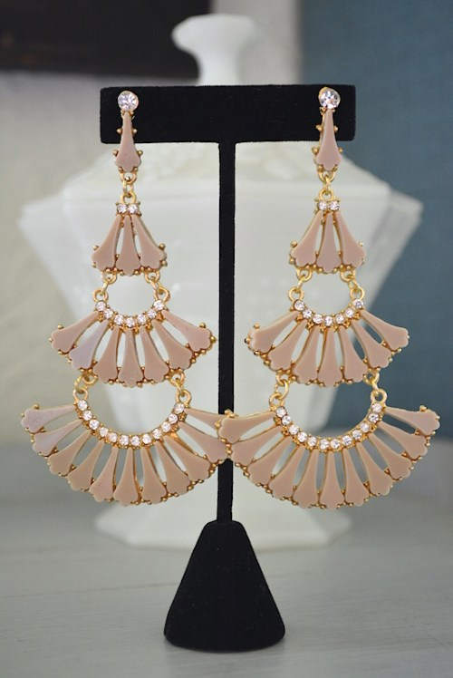 Khaki Chandelier Earrings, Tan Earrings, Khaki Earrings, Fan Earrings, Chandelier Earrings