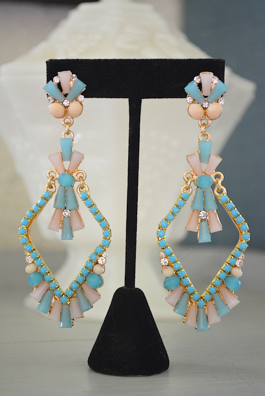 Blue Chandelier Earrings, Blue and White Earrings, Chandelier Earrings