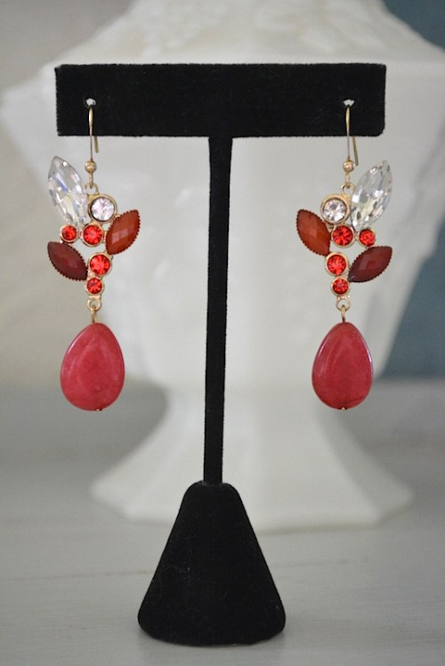 Red Drop Earrings, Red Earrings, Red and White Jewelry