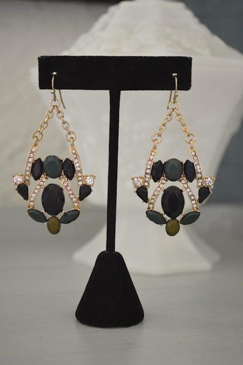 Navy Chandelier Earrings, Navy Earrings, Navy and Green Earrings