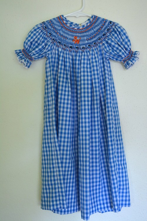 Gingham Tiger Smocked Dress, Tiger Smocked Dress, Blue and White Gingham Dress, Smocking, Smocked Dress, Bishop Dress