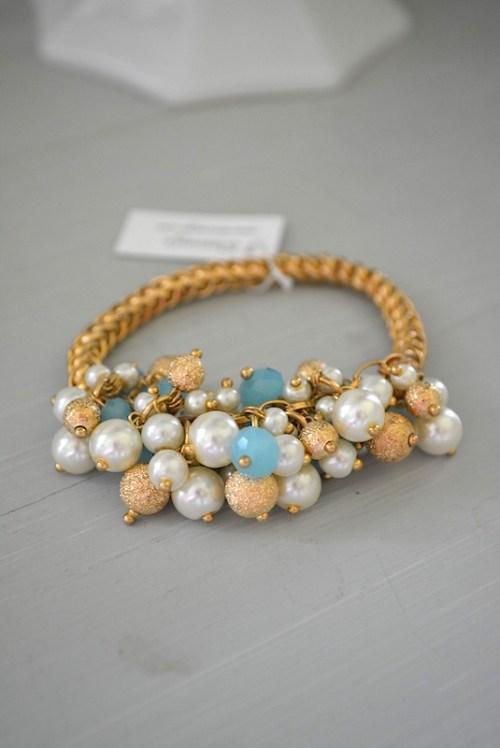 Clustered Beads Bracelet, Stretch Bracelet