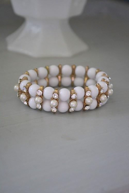 White Bracelet, White Jewelry, White Stretch Bracelet