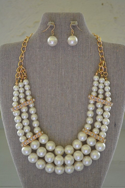 Pearl Collar Necklace Set, Necklace and Earrings, Pearl Jewelry