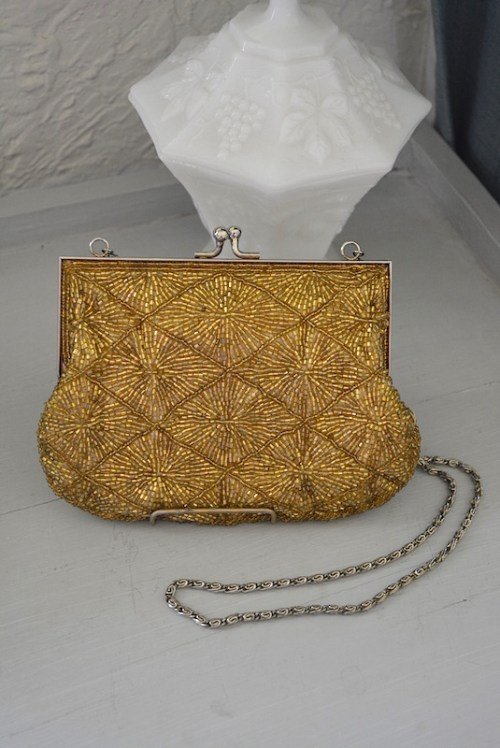 La Regale Gold Purse, Vintage Purse, La Regale, Beaded Purse, Retro Purse, Gold Purse