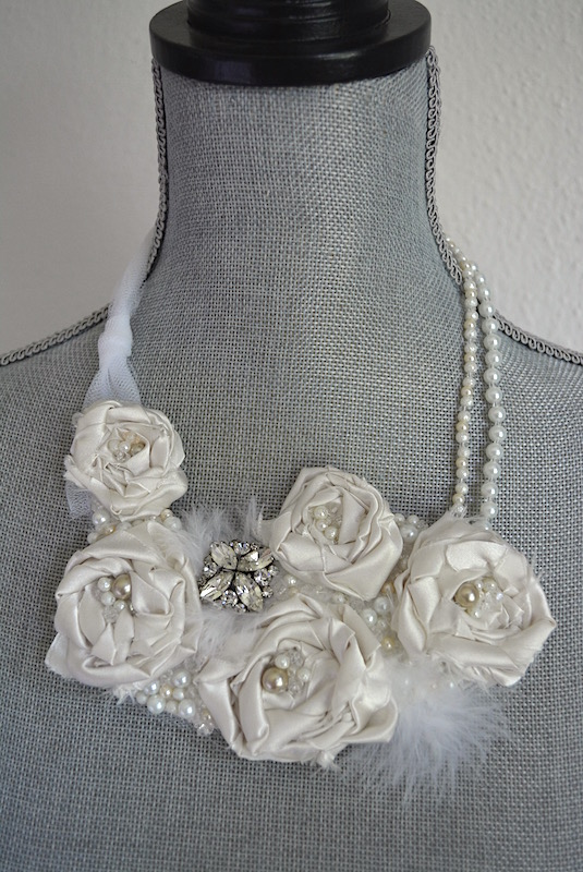 White Flower Necklace, Bride, Satin Flowers, Handmade Jewelry, Repurposed Jewelry, Bridal Jewelry, Fabric Flower Jewelry, Bib Necklace