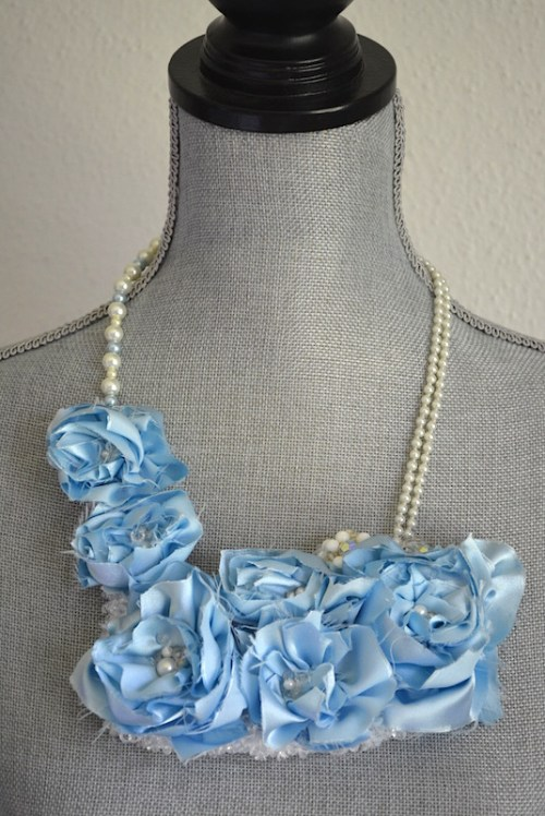 Blue Flower Necklace, Fabric Flower Jewelry, Blue Necklace, Flower Necklace