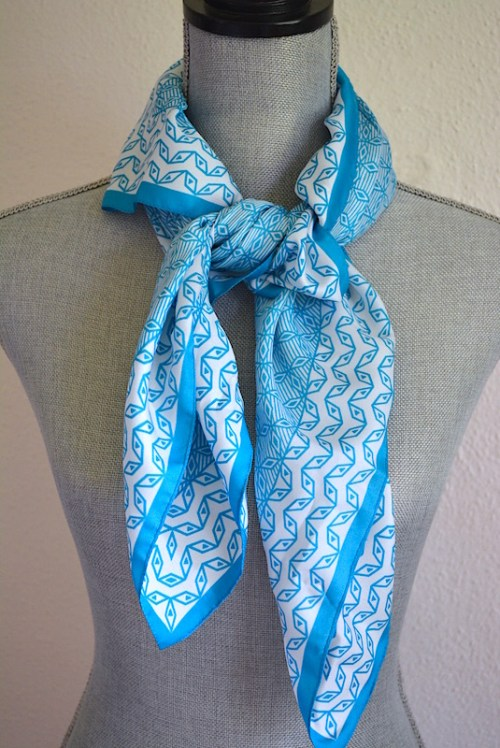 Turquoise and White Scarf, Turquoise Print Scarf, Vintage Scarf, White Print Scarf, Geometric Scarf