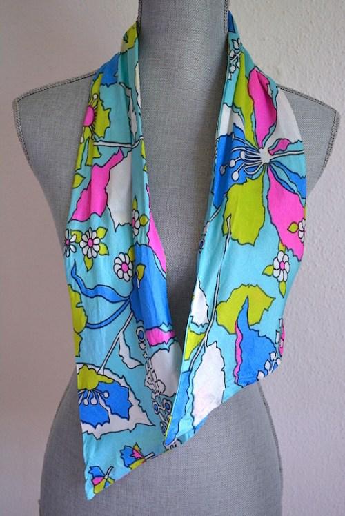 Turquoise Print Belt, Turquoise Print Scarf, Mod, Flower Print Belt, Mod Flowers