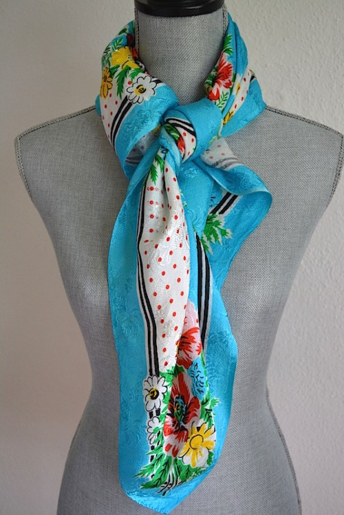 Turquoise Print Scarf, Red Flowers Scarf, Vintage Scarf, Vintage Turquoise Scarf, Flower Print Scarf, Vintage Flower Scarf