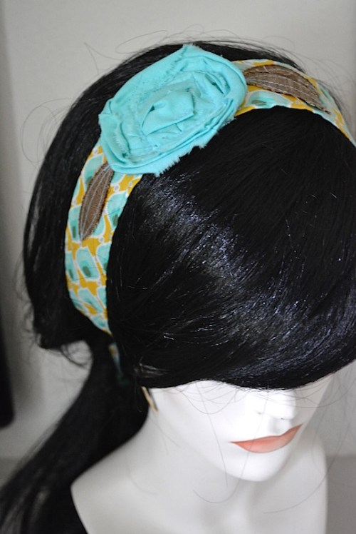 Turquoise Flower Headband, Mint Flower Headband, Fabric Flower Headband, Geometric Headband