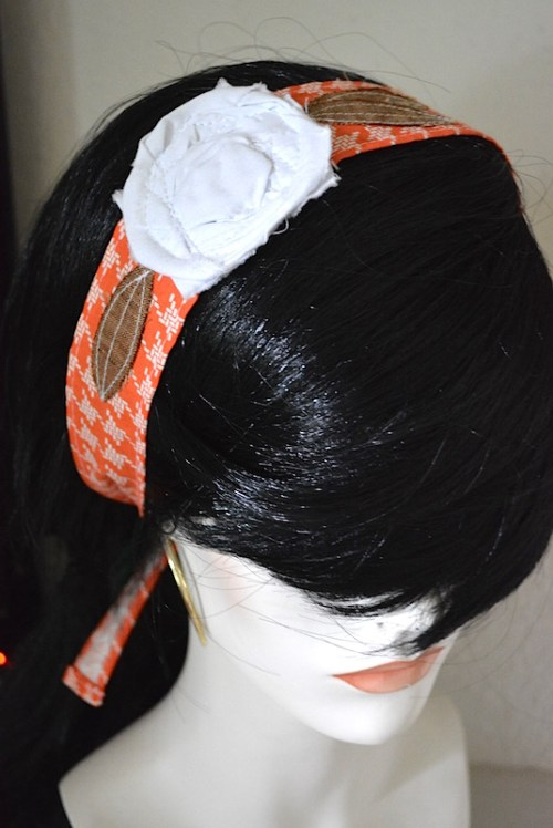 White Flower Headband, Fabric Flower Headband