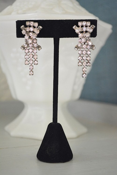X Rhinestone Earrings, Vintage Jewelry, Vintage Costume Jewelry