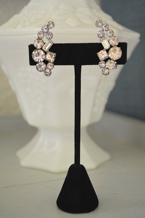 Rhinestone Wing earrings, Rhinestone Earrings, VIntage Earrings, Vintage Jewelry