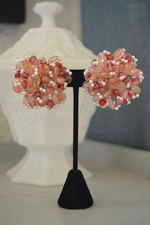 Pink Beaded Earrings, Glass Beaded Jewelry, Vintage Earrings, Beaded Earrings
