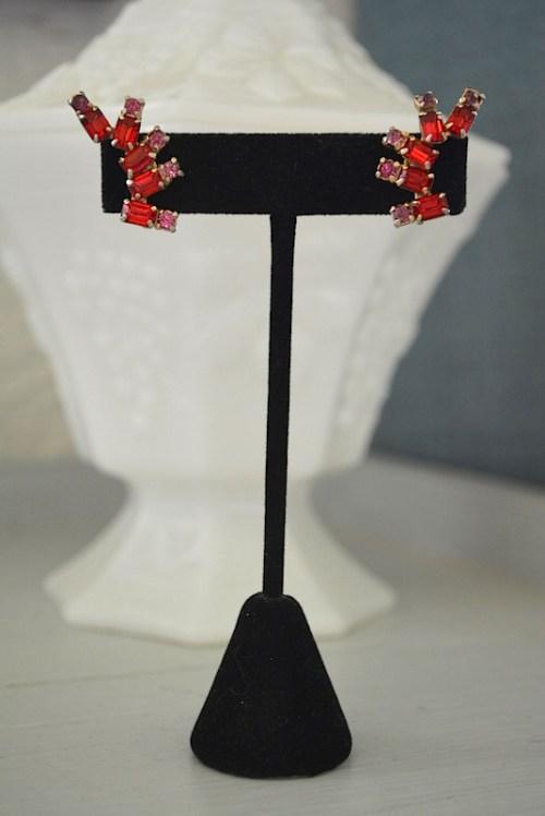 Ruby Earrings, Vintage Earrings, Vintage Jewelry, Red and Pink Earrings,