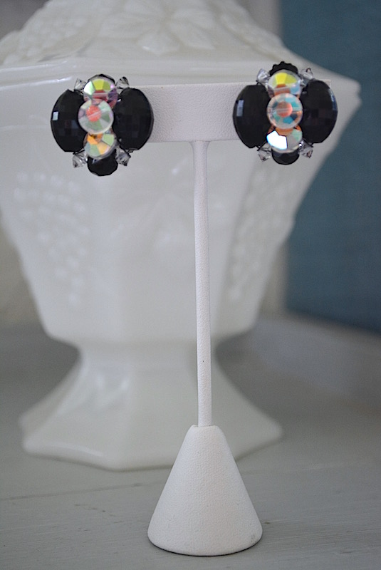 Black and Swarovski Crystal Earrings, Vintage Costume Jewelry, Black and Clear Earrings, Black and White Earrings