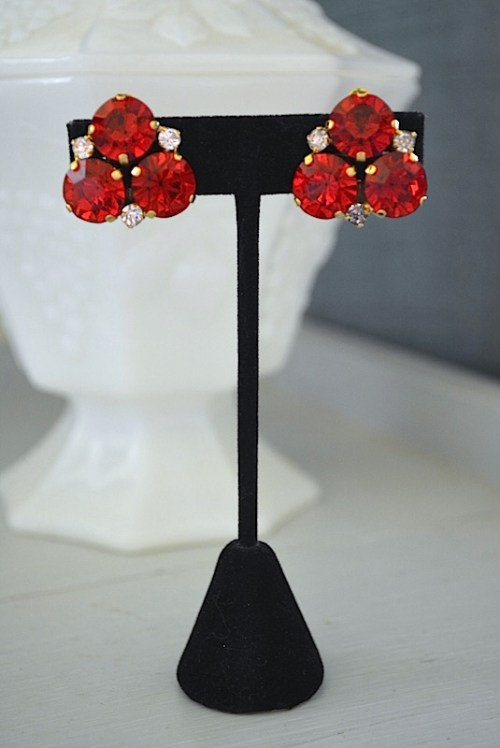 Ruby Red Earrings, Vintage Jewelry, Vintage Earrings