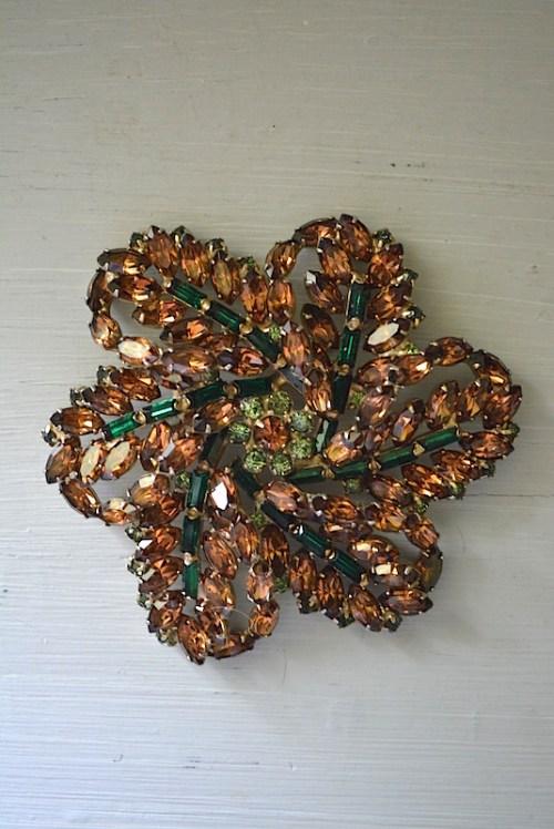 Topaz Flower Brooch, Vintage Brooch, Vintage Jewelry, Champagne Topaz Brooch