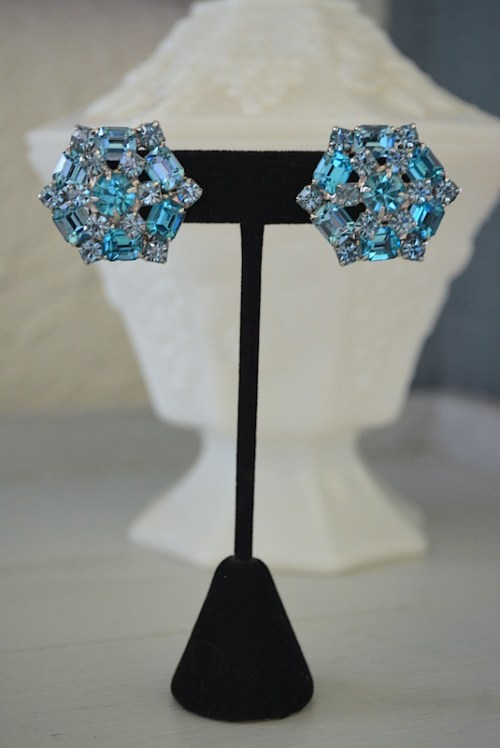 Aquamarine Earrings, Blue Earrings, VIntage Earrings, Bride, Bridal Earrings