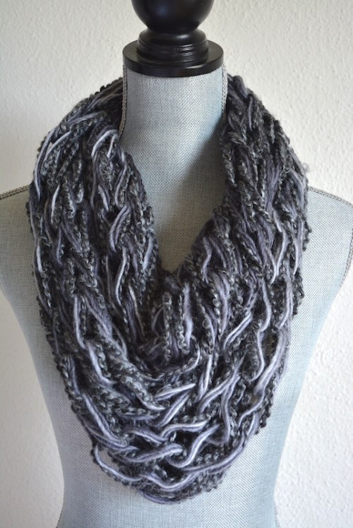 Grey Infinity Scarf, Grey Scarf, Ombre Grey Scarf, Knitted Scarf
