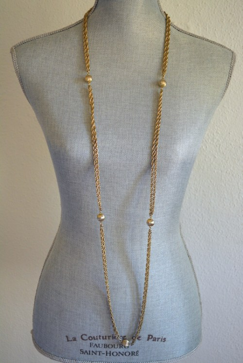 Long Gold Necklace, Vintage Necklace, Gold Necklace,