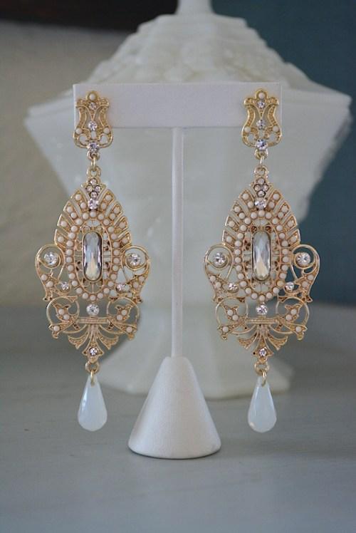 Gold Chandelier Earrings, Chandelier Earrings, Gold and White Earrings, Statement Earrings, Statement Jewelry,