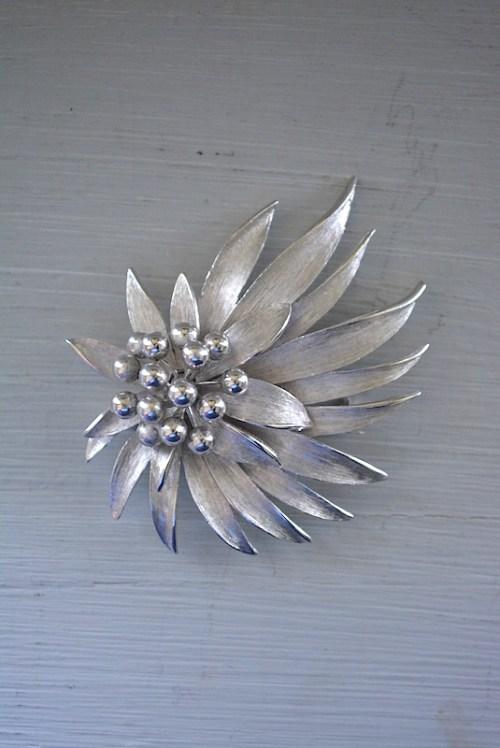 Silver Flower Brooch, Vintage Flower Brooch, Vintage Silver Brooch