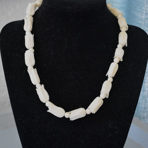 Carved Ivory Necklace, Bone Necklace, Ivory Necklace, Faux Ivory Necklace