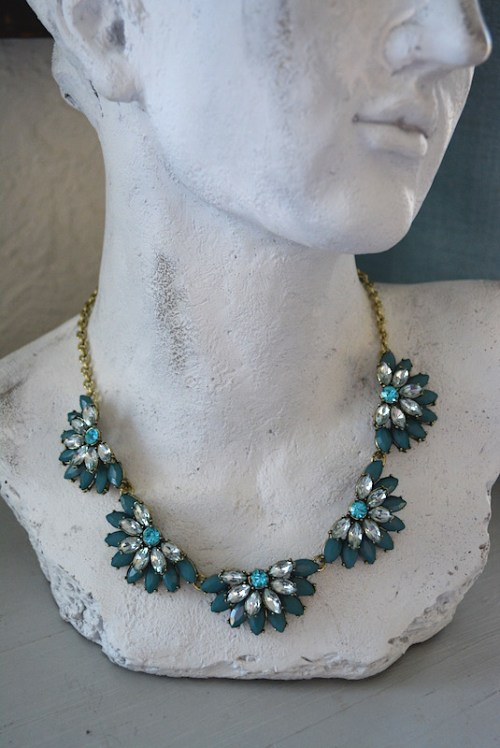 Teal Fans Necklace,Teal Necklace,Teal Jewelry,Fan Jewelry