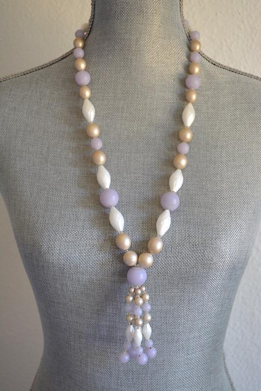 Beaded Fringe Necklace, Beaded Tassel Necklace, Tassel Necklace, Vintage Fringe Necklace