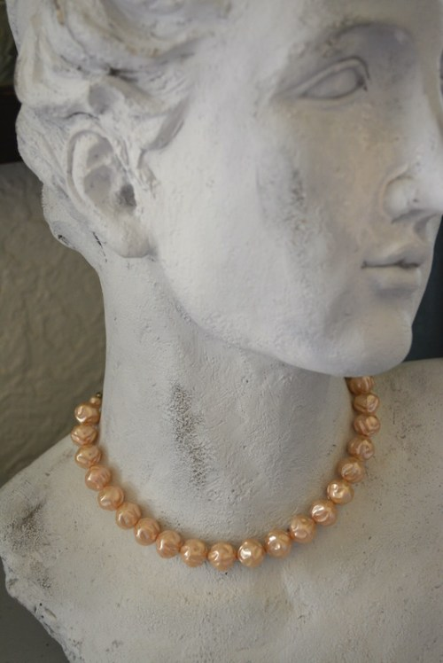 Tan Beaded Necklace, Vintage Beaded Necklace