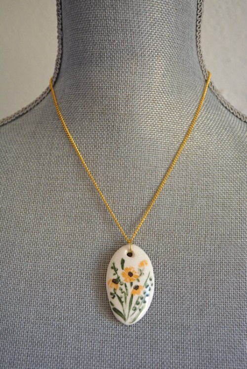 Yellow Flowers Necklace, Hand Painted Pendant, Yellow Flowers Pendant, Flowers Pendant
