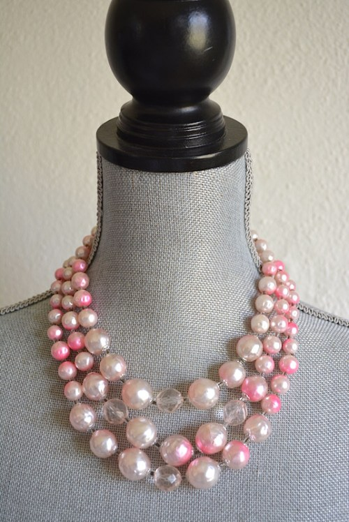 Pink Ombre' Necklace,Pink Beaded Necklace,Pink Necklace,Vintage Pink Necklace, Vintage Pink Jewelry, Pink and White Necklace