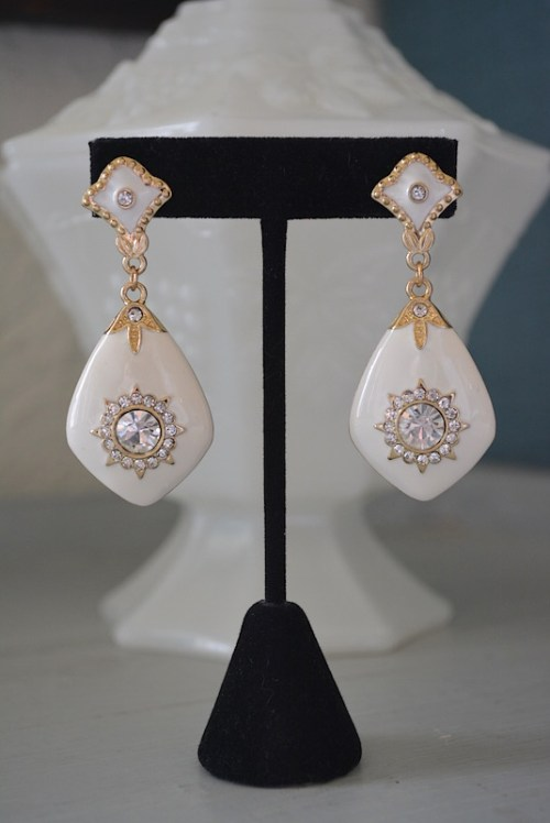 White and Gold Earrings, White Jewelry, White Earrings, Gold and White Earrings