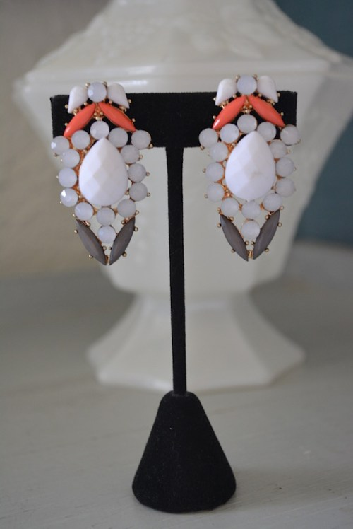 White Clip Earrings, White Earrings,White Jewelry