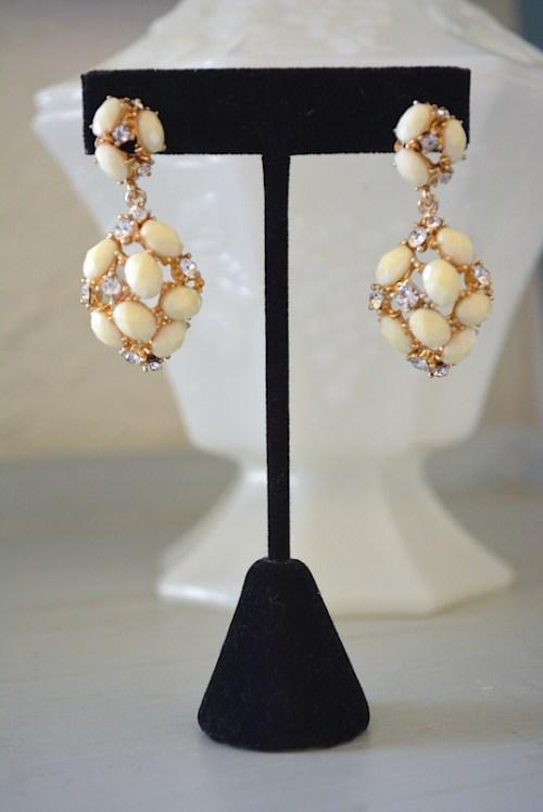 Ivory and Rhinestone Earrings,Ivory Earrings, Cream Earrings, Off White Earrings,Neutral Earrings