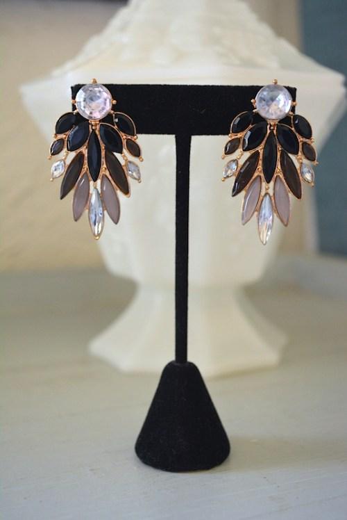 Black Wing Earrings,Black Earrings, Black Ombre Earrings, Grey Ombre Earrings, Grey Earrings