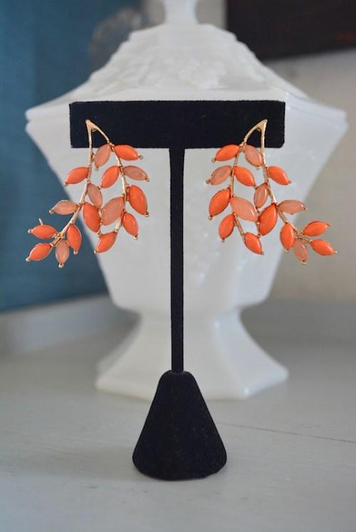 Orange Leaves Earrings, Peach Earrings, Orange Earrings, Leaf Jewelry