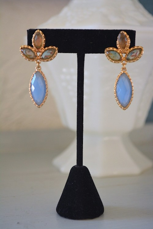 Blue Teardrop Earrings,Blue Earrings, Blue and Taupe Earrings, Blue and Brown Earrings